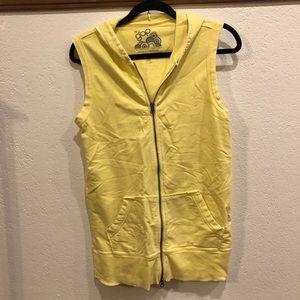 Gap Yellow Sleeveless Zip Up Hoodie